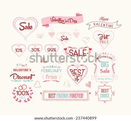 set of valentine sale for design - stock vector
