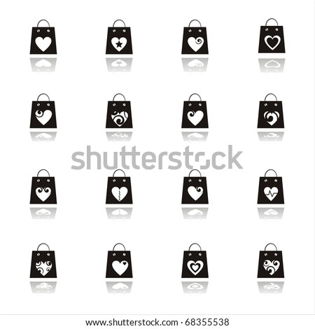 set of 16 valentine shopping bags icons - stock vector