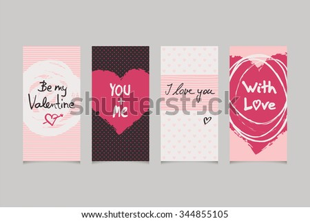 set of valentines banner - stock vector