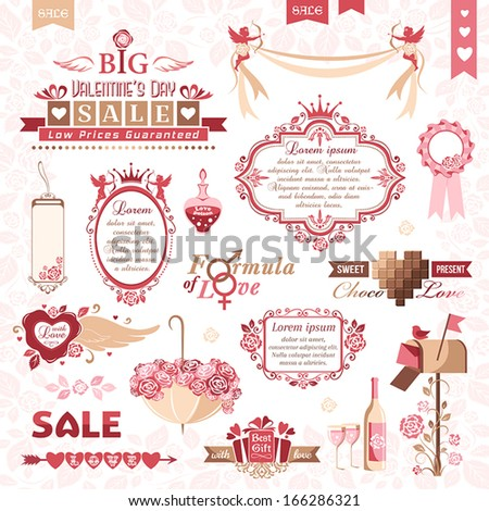 Set of Valentines Day design elements (color version) - stock vector