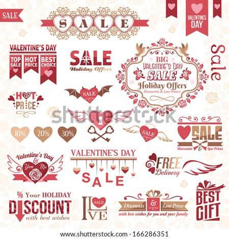 Set of Valentines Day design elements (color version) - stock vector