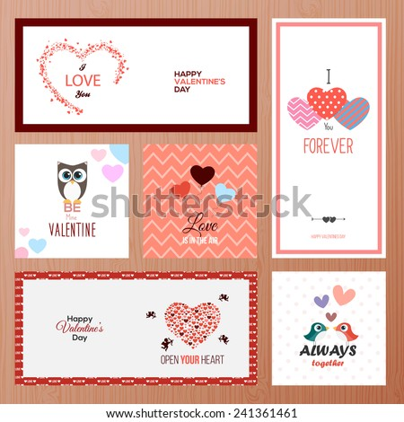 Set of Valentines day greeting card templates. Vector - stock vector