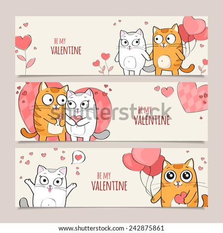 Set of Valentines Day horizontal vector banners with cute cats - stock vector