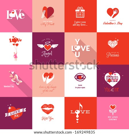 Set of Valentines day icons - stock vector