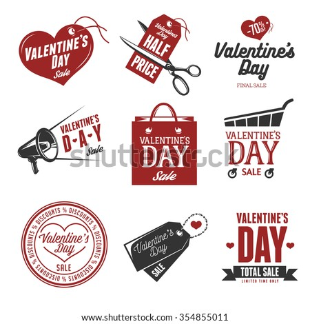 Set of valentines day sales labels. Vintage vector illustration. Trendy design elements for different decor needs. Badges, stickers, prints related to valentines day. - stock vector