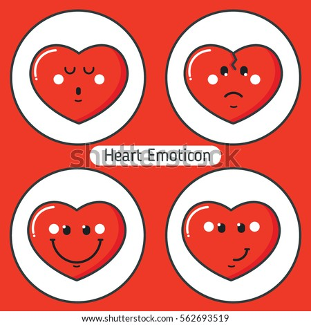 Set of Valentines heart emoticons. Collection with different expressions. Flat design. Avatars,cards,stickers,sites,calendars. Vector illustration