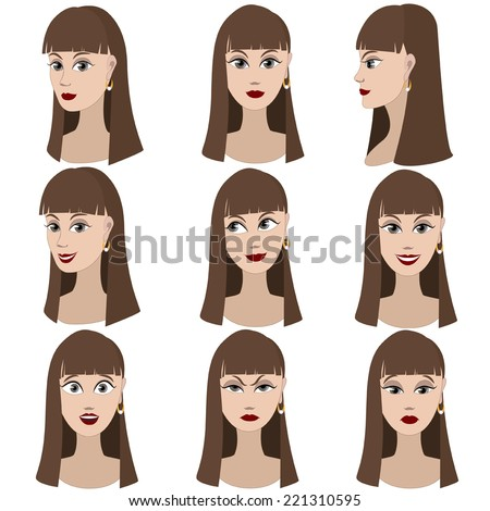 Set of variation of emotions of the same girl with brown hair. She is remembering, thinking, sad, dreaming, angry, surprised, outraged, smiling. She have long straight hair and gray eyes.  - stock vector