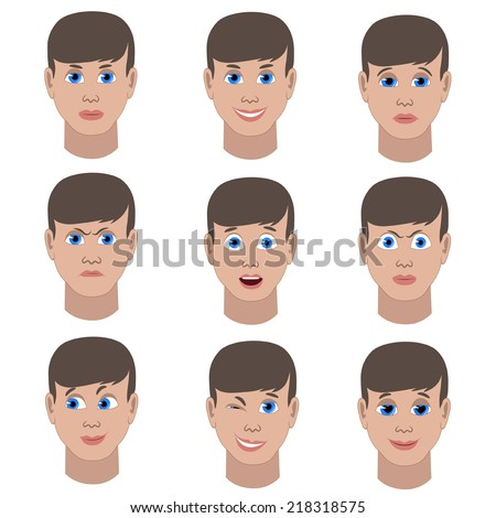 Set of variation of emotions of the same guy. He is smiling, sad, angry, surprised, outraged, confused, winking, in love.  - stock vector
