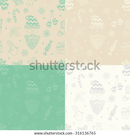 Set of 4 Variations of Subtle Colorful Xmas Doodle Christmas Seamless Background Pattern with Santa Claus. Hand Drawn Vector Illustration. Pattern Swatches - stock vector