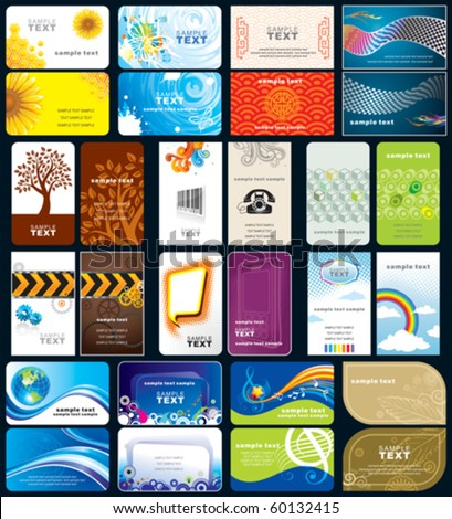 Set of variety business cards, front and back design. - stock vector