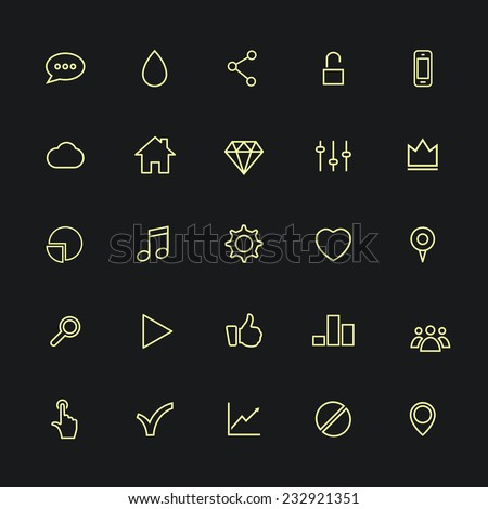 Set of 25 variety modern stylized application icons. Isolated on black background. Vector illustration, eps 8. - stock vector