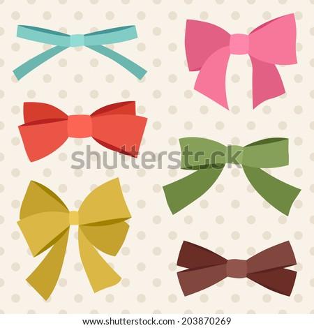 Set of various abstract bows and ribbons. - stock vector