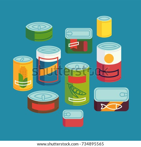 Set of various abstract flat design canned food. Cool vector non perishable food design elements