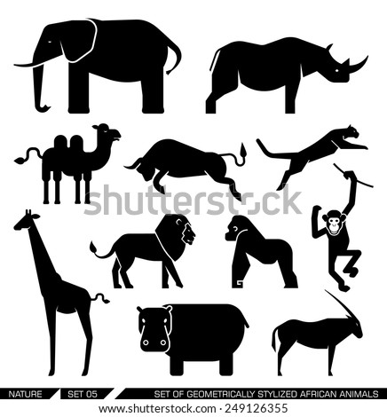 Set of various African animal icons: elephant, rhino, hippo, lion, puma, camel, bull, giraffe, monkey, gorilla. Vector illustration. - stock vector