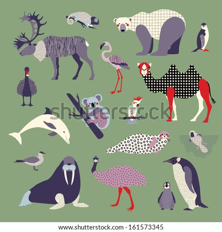 Set of various animals - stock vector