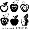 Set of various apple silhouettes icons vector illustration - stock vector