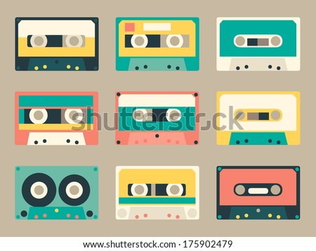 Set of various audio tapes in flat style - stock vector