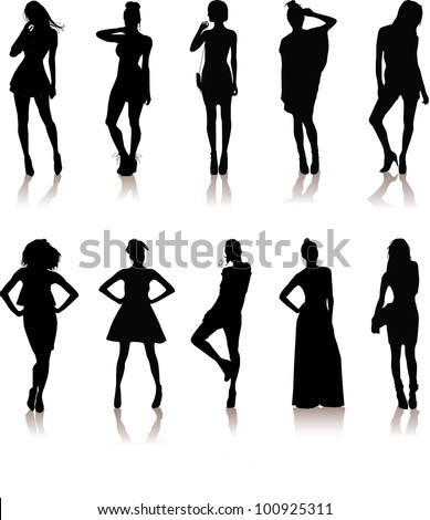 set of various beautiful model girls in dress.Lady girls - stock vector