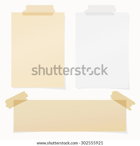 Set of various beige , gray note papers on white background - stock vector