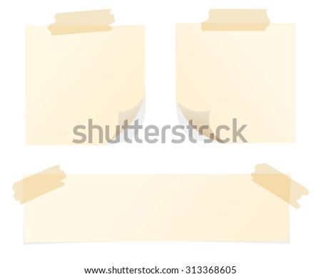 Set of various beige note papers on white background - stock vector