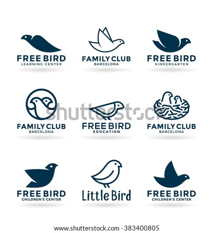 Set of various bird symbols and logo design elements (2) - stock vector