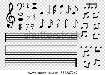 Set of various black musical note icon isolated on transparent background. Vector illustration for music design. Melody tune symbol pattern. Key sign collection. Tone element art.