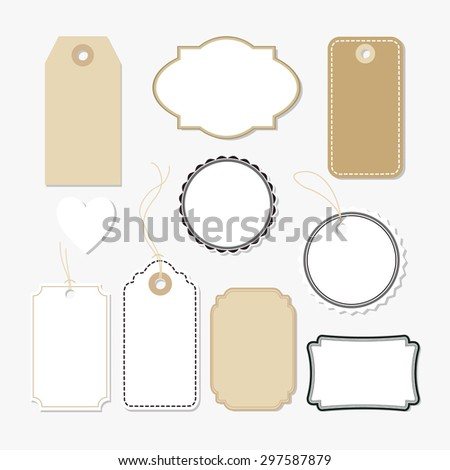 Set of various blank paper tags, labels, isolated vector elements, flat design  - stock vector