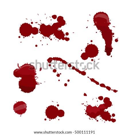 Set of various blood or paint splatters in halloween day on white background, drops and trail.  vector illustration.