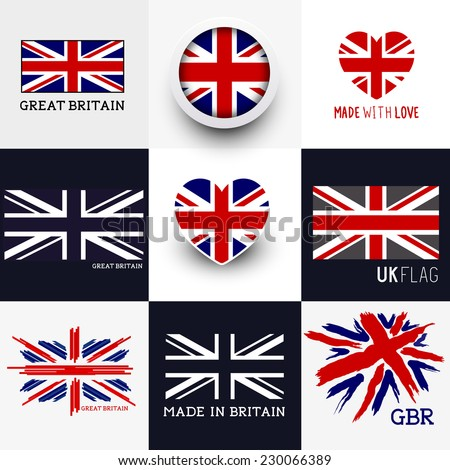 Set of various British flags and UK symbols - stock vector