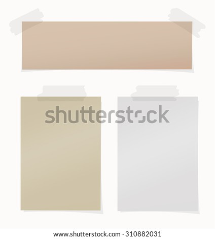 Set of various brown, gray note papers on white background - stock vector