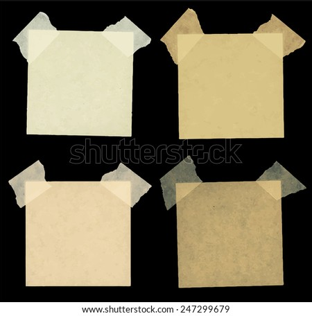 Set of various brown note papers - stock vector