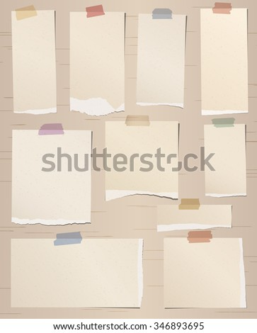Set of various brown torn note papers with adhesive tape - stock vector