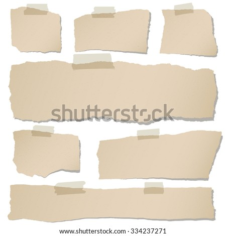 Set of various brown torn note papers with adhesive tape on white background - stock vector