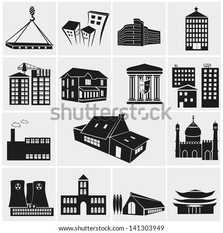 Set of various buildings - stock vector