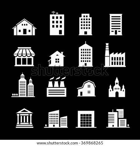 Set of various buildings. White on  dark background - stock vector