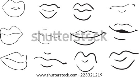 Set of various cartoon female lips expressing emotions. Hand drawn black-and-white sketch. - stock vector