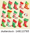 Set of various Christmas stockings. Elements for X-mas and New Year design. - stock vector