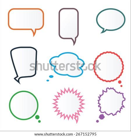 Set of Various Colorful Frame Speech Bubbles, Vector - stock vector