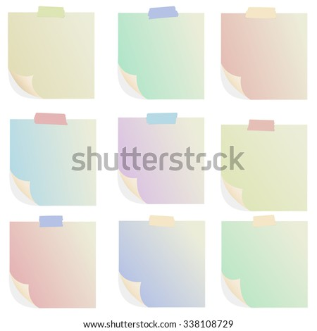 Set of various colorful note papers on white background - stock vector