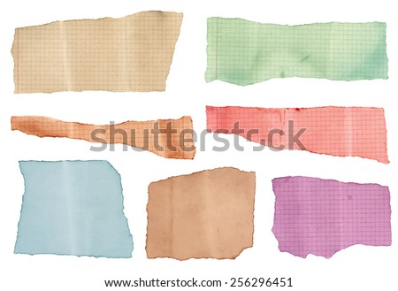 Set of various colorful torned note papers  - stock vector