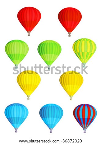 Set of various colorful vector hot air balloons isolated on white background - stock vector