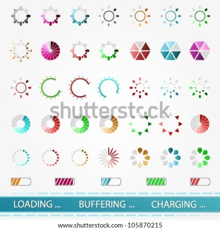 Set of various colorful vector loading, buffering, charging icons - stock vector