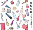 Set of various cosmetic items on white background - stock vector