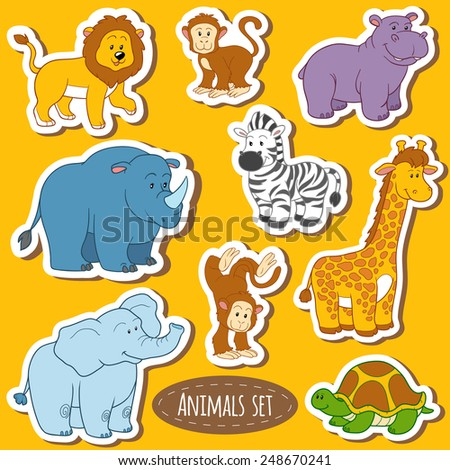 Set of various cute animals, vector stickers of safari animals - stock vector