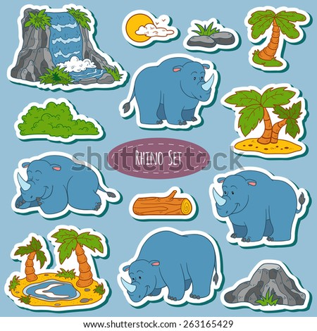 Set of various cute rhino, vector stickers of animals and items of nature - stock vector