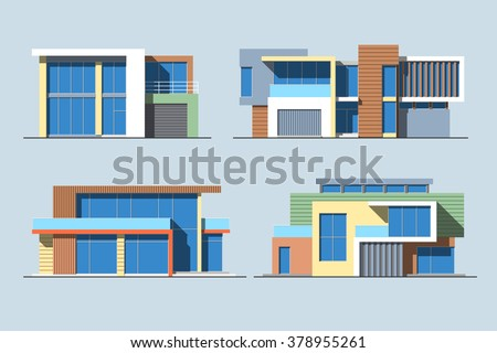 Set of various design color vector flat style modern private residential houses isolated on blue background. Detailed graphic symbols and elements collection - stock vector