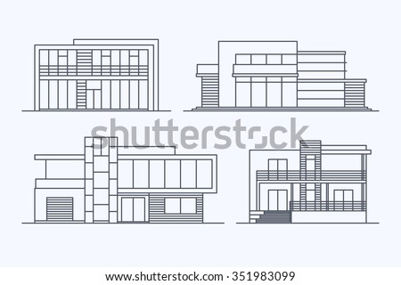Set of various design vector linear modern private residential houses ...