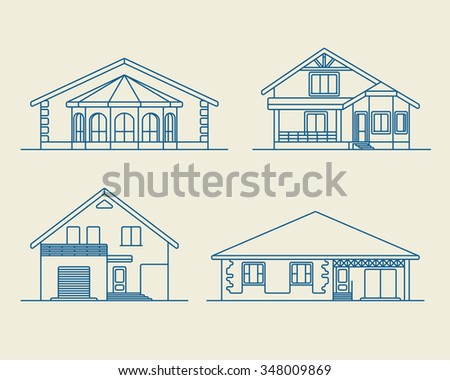 Set of various design vector linear private residential houses isolated on light background. Detailed graphic symbols and elements collection - stock vector