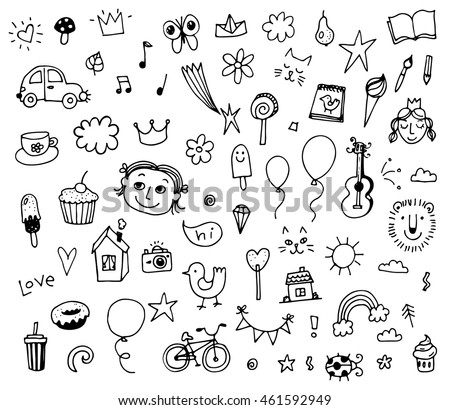 Set of various doodles, hand drawn children drawing sketches. Vector illustration isolated on white background