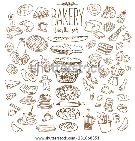 Set of various doodles, hand drawn rough simple bread and pastry sketches. Isolated on background - stock vector
